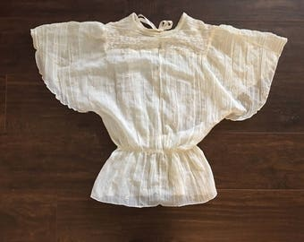 vtg 70s ivory SHEER cotton DRAPE sleeve blouse • EMBROIDERED • sz xs