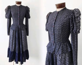 Vtg 70s PRAIRIE cotton 2 PC - peplum top & skirt - sz XS