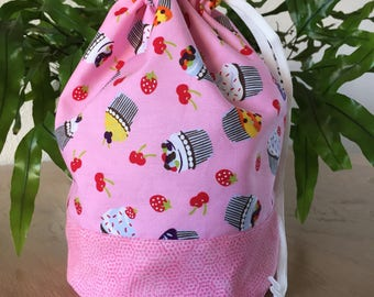 "Drawstring Project Bag ""Cupcakes"", Knitting Project Bag, Crochet Project Bag, Yarn Project Bag, Sock Knitting Bag, Yarn, Gift for Knitters"