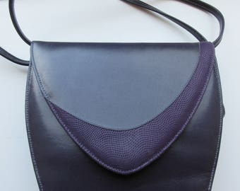 Vintage 1980's Purple Leather Handbag Shoulderbag MADE In UK By 'Holmes Of Norwich' - Lovely!!