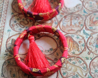african wax earrings/ red tassels
