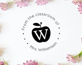 Custom Teacher Stamp, Teacher Gift, From the Classroom Of Stamp, Personalized Stamp, Classroom Library Stamp, Teachers Apple Stamp, (cts98)
