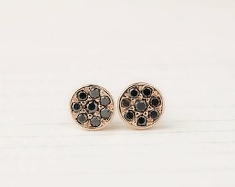 14k gold black diamond cluster earrings, black diamond circle studs, round disc pave black diamond earrings, moo-e101-bdia