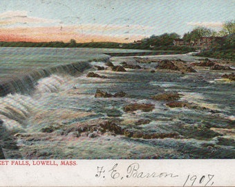 Pawtucket Falls, Lowell, Massachusetts, 1907 Postcard, good shape, used, Vintage, Merrimack River