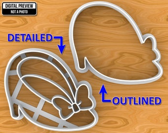 Minnie Mouse Shoe with Bow Cookie Cutter, Detailed Or Outlined, Selectable sizes.