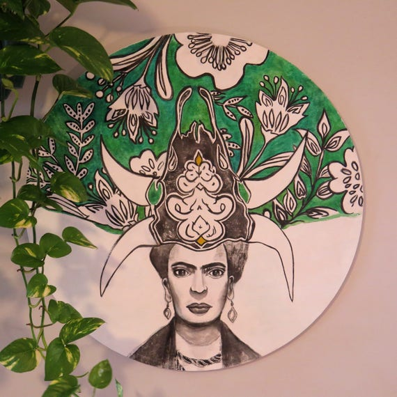 Frida Kahlo Skull Headdress Round Wall Art, Pop Art Design,  Timber Porthole