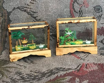 Pair of 2 miniature vintage Chinese 3d shadow boxes nib never opened swan pagoda