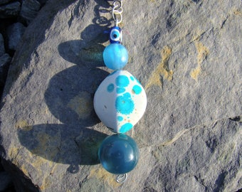 Tie Dye and blues drop on silver Necklace