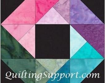 HC Rainbow Ring 10 Inch Paper Piece Foundation Quilting Block Pattern PDF