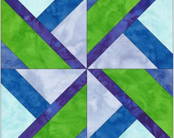 Seattle Pinwheel 15 Inch Block Paper Template Quilting Block Pattern PDF
