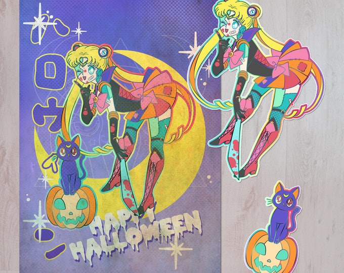 Featured listing image: Halloween Spoopy Sailor Moon Style Print and Sticker Pack