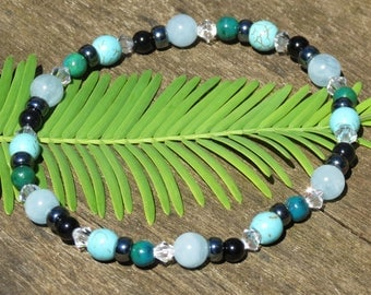 GEMINI POWER BRACELET or Anklet for Luck, Energy, Stability, Calm, Immunity and Confidence with Agate, Aquamarine, Chrysocolla & Turquoise!