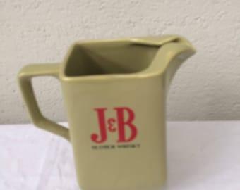 Pitcher, J & B carafe, scotch whiskey, WADE pm ENGLAND, vintage