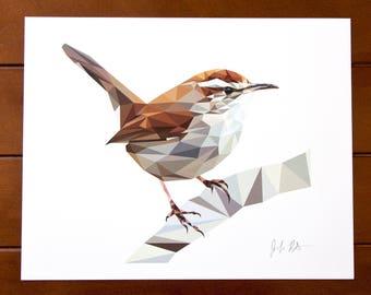 Geometric Bird 8x10 Print - Bewick's Wren