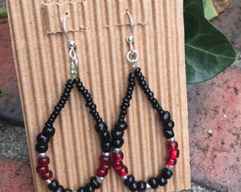 beaded loop earrings boho earrings garnet black earrings Game day earrings gift for her earrings ladies dangle earrings football accessories