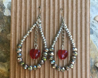 beaded loop earrings boho earrings red heart earrings Valentine heart earrings sparkly earrings dangle earrings gift for her gift for wife
