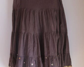 Sequin Skirt - Gypsy Skirt - Full Skirt with Gold Sequined Lined Bottom - Brown Cotton - Size Med