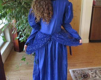Fairy Godmother Gown, Cinderella, Blue Dress, Wings, Dolman sleeves, Sparkly Size Med to XLarge #1 Fairy Godmother Costume