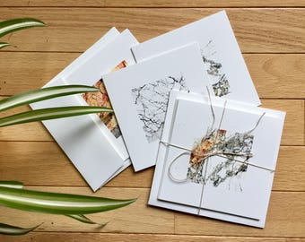 Mineral Photo 5x5 Square Blank Recycled Greeting Card Set of 3