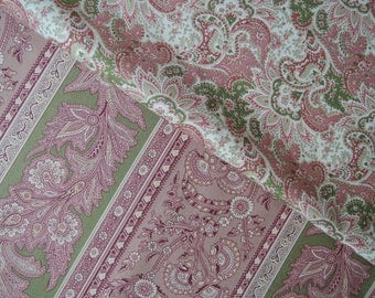 """Fat Quarters Bundle of Kono Sanae Beautiful Victorian Paisley and Stripe in Pink by Yuwa. Approx. 18"""" x 22"""" Made in Japan."""