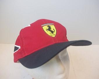 90s Ferrari car hat cap vintage leather strap