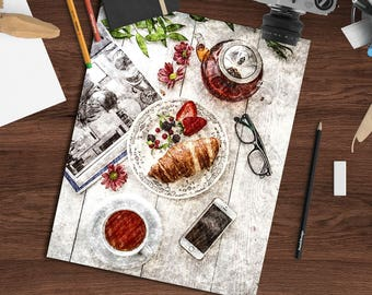 Charcoal drawing digital print, 8x10 printable art download, breakfast scene, kitchen wall decor, charcoal art print, digital wall hanging
