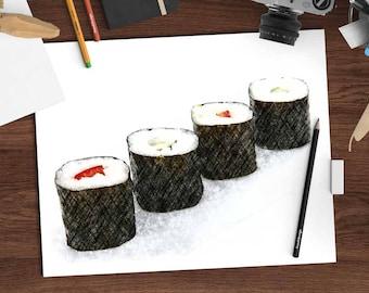 Sushi art print, maki sushi rolls #1, charcoal drawing digital print, 8x10 printable, sushi download kitchen wall decor,digital wall hanging