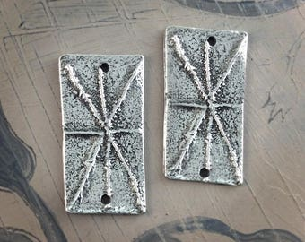 Handcast Rectangle Connector Charms, Artisan, Pewter, Handmade, Jewelry Elements No. 617CP