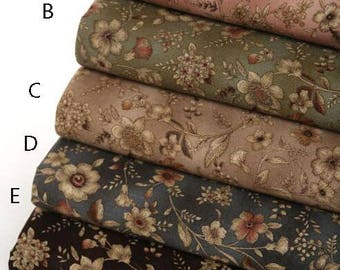 110 cm/ 43 inch Width,   Vintage Style Flower Floral Pattern  Cotton Fabric, Half Yard