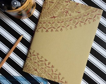 Hand Bound Blank A5 Journal - Gold Paisley Mandala Notebook with Rich Purple Binding - 3 Hole Pamphlet Stitch - Recycled Wallpaper