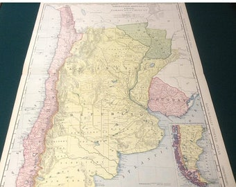ON SALE 1908 Antique Map of Argentina, Chile, Uruguay and Paraguay (Buenos Aires) Xtra Large (Commercial size-27.5x20.5) map with fine detai