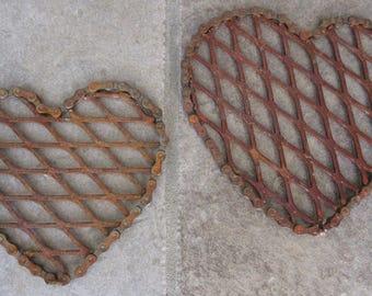 Weathered Hearts of Steel -  Metal Sculpture, Heart Sculpture, Romantic Gift, Rustic