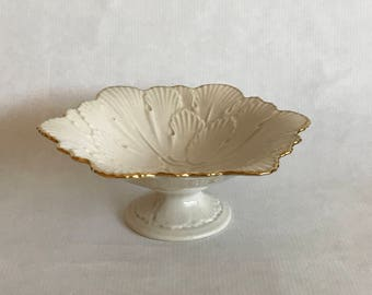 Vintage 1970s LENOX Arbor Collection Candy DISH, 6 Sided Footed/Pedestal Snack Dish/Compote, Embossed Leaves, made in USA, gold trim, marked