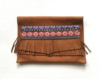 The High Mountain Clutch - Boho Wallet - Tribal Clutch - Leather Fringe - Christmas Gift - Handmade Purse - Desert Pouch - Upcycled Leather