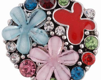 KC6346 ~ Eye Catching Enameled Flowers Accented With Crystals