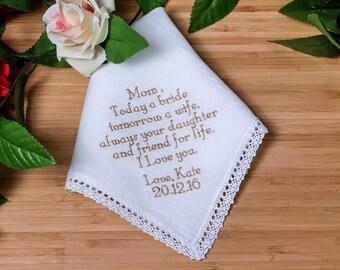Mother of the Bride Handkerchief. Custom Handkerchief. Embroidered Handkerchief. Embroidered gift . Personalized Handkerchief. Linen Hankie