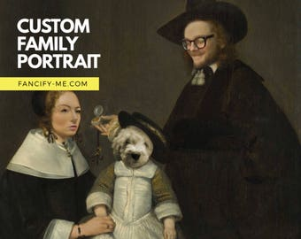 Custom family portrait classical art style, new baby gift, personalized artwork, historical oil painting, mother father and baby, dutch