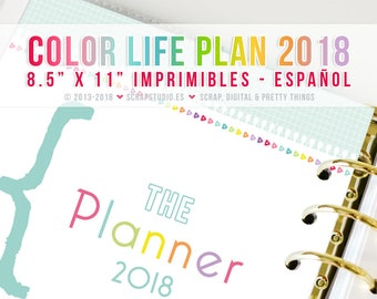 COLOR life plan 2018 Spanish - Printables Pages A4 format - Digital Instant Download