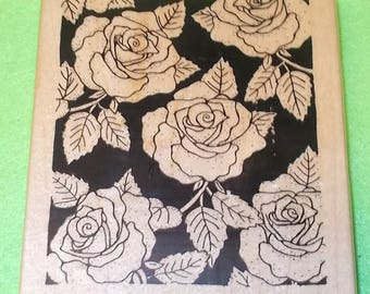 Roses background rubber stamp wood mounted rose flowers large backgrounds mail artist mixed media scrapbooking cardmaking leaves nature jrl
