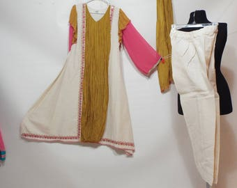 Ladies Long beige dress, pants and shal pakistan 3 pc suit  size S-M