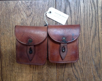 Vintage 1940s 40s French army military brown leather ammo belt double pouch bag