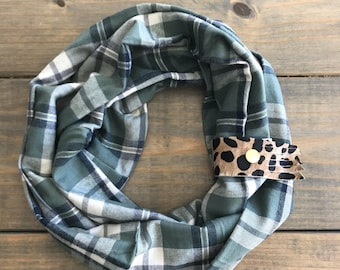 Light Green, Navy, and Cream Plaid Infinity Scarf with Leopard Leather Cuff