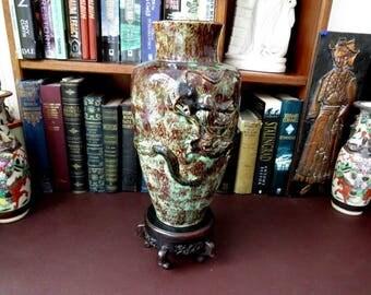 Meiji Era Japanese Awaji / Kyoto Vase Applied Dragon Over Two Tone Glaze -- We Do Ship Overseas