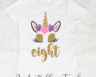 Eight Unicorn Birthday Shirt, Eight Birthday Shirt, Birthday Girl Shirt, Birthday Shirts for Girls, 8th Birthday shirt 8 Glitter Sparkle