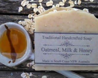 Oatmeal, Goatmilk and Honey. Handmade Soap. Goat milk soap, Natural Soap. Gentle Soap. Unfragranced