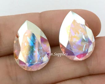 4320 CRYSTAL AB 14x10mm Swarovski Crystal Teardrop Fancy Stone 2pcs, Aurora Boreale
