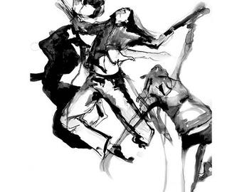 Black and White  Dancer drawing-Abstract,expressive drawing-contemporary