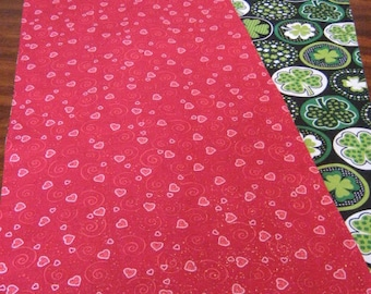 "VALENTINE'S DAY and St. PATRICK'S Day reversible table runner 72-84"" long- Pink sparkly hearts & swirls on red-asst Green Shamrock circles"