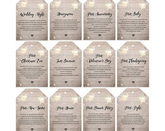 Wedding Milestone tags Milestone Wine Labels Wine Basket Tags Bridal shower gift Engagement gift wedding Wine poems set of 12 PRINTABLE