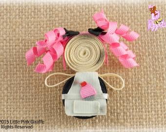 Lil' Poppet™ Cupcake Baker, Ribbon Sculpture Hair Clip or Brooch Pin, Ragamuffin Daphne